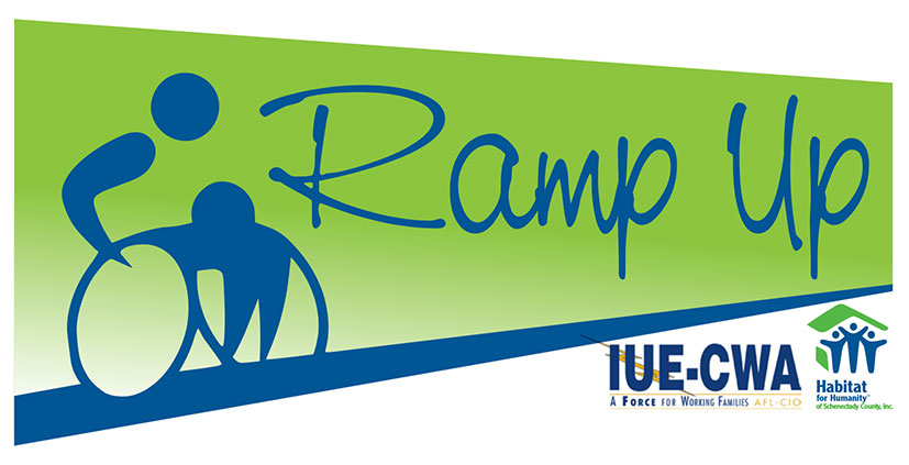 Person in wheelchair with RampUp Logo with IUE logo at the bottom