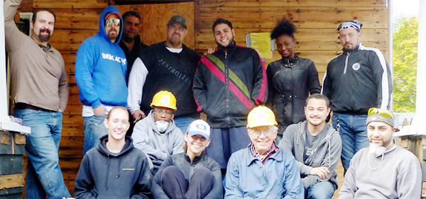 group of volunteers at a build site