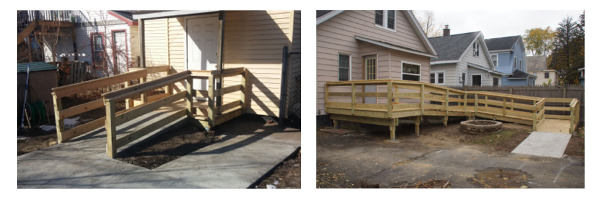 two photos of houses with wooden wheelchair ramps